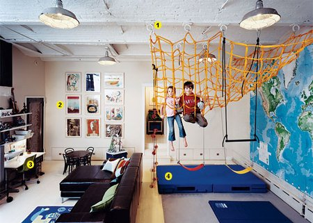 Home playground ideas inside and out playscapes for Basement jungle gym