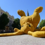 florentijn hofman big yellow rabbit play sculpture